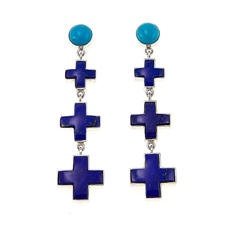 Jay King Lapis Cross and Turquoise Drop Sterling Silver Earrings