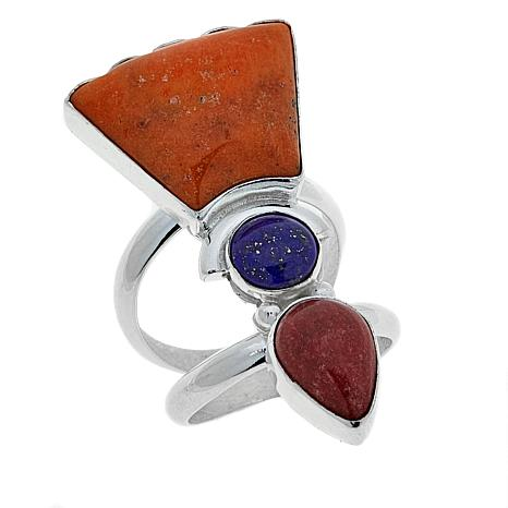 Jay King Lapis, Red and Orange Coral Sterling Silver Ring