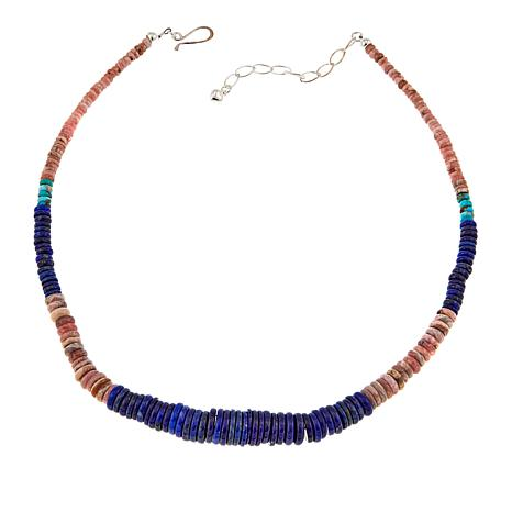 "Jay King Lapis Rhodochrosite and Turquoise 18"" Necklace"