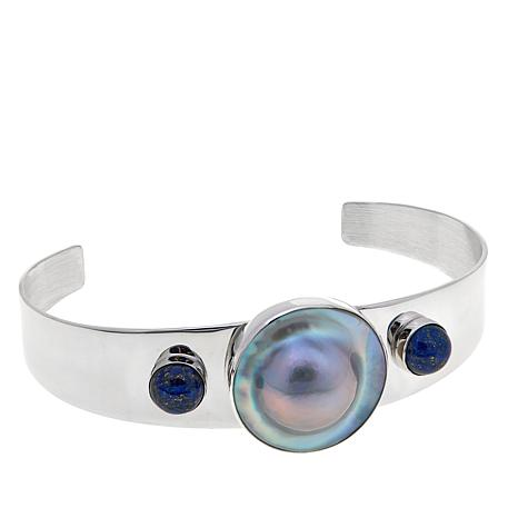 Jay King Mabé Pearl and Lapis Cuff Bracelet