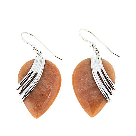 Jay King Madagascar Peach Stone Drop Sterling Silver Earrings