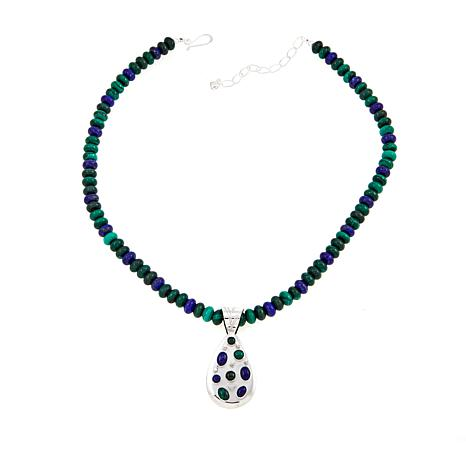 """Jay King Malachite and Lapis Sterling Silver Pendant with 18"""" Necklace"""