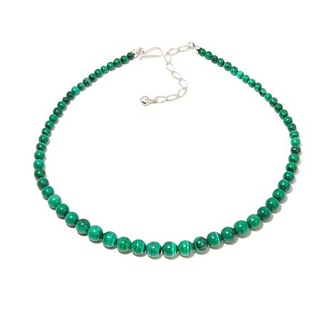 "Jay King Malachite Bead Sterling Silver 18"" Necklace"