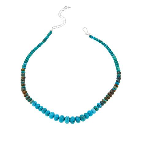 """Jay King Mongolian Turquoise Bead 18-1/4"""" Sterling Silver Necklace"""