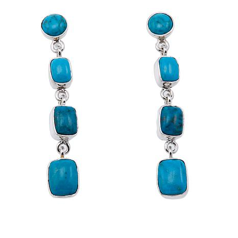 Jay King Mongolian Turquoise Drop Sterling Silver Earrings