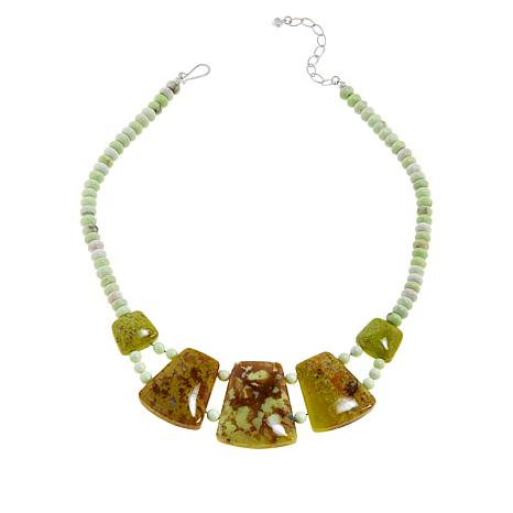Jay King Multi-Color Green Opal and Meadow Stone Necklace