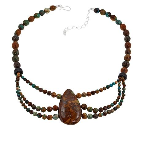 Jay King New Red Skin Turquoise & Tourmaline 3-Strand Draped Necklace