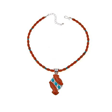 Jay King Orange Coral and Turquoise Pendant-Necklace