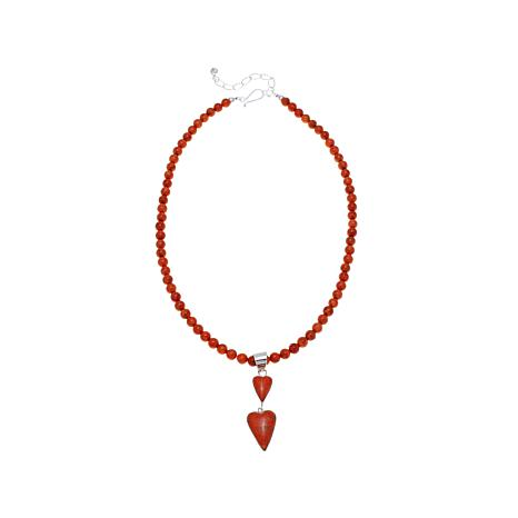 """Jay King Orange Coral Hearts Pendant with 18"""" Necklace"""