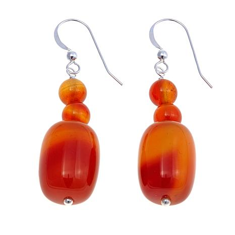 Jay King Orange Lace Agate Drop Earrings