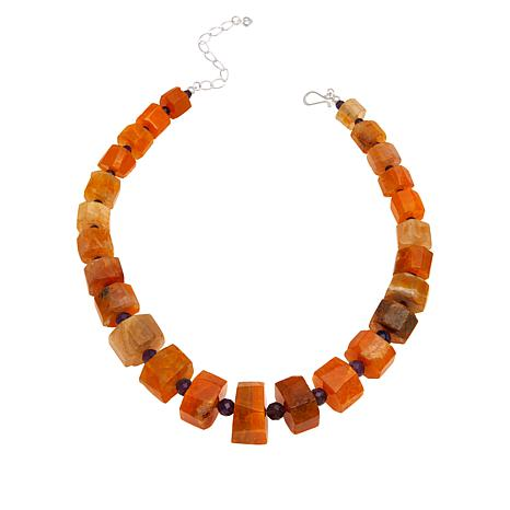 Jay King Orange Maple Chalcedony and Amethyst Bead Necklace