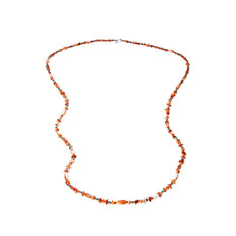 "Jay King Orange Spiny Oyster Shell and Turquoise Bead 60"" Necklace"