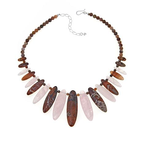 Jay King Oval Petrified Wood and Rose Quartz Necklace