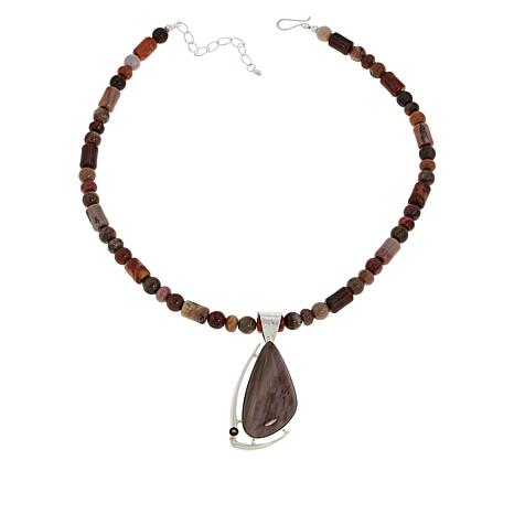 Jay King Petrified Wood and Smoky Quartz Pendant with Necklace