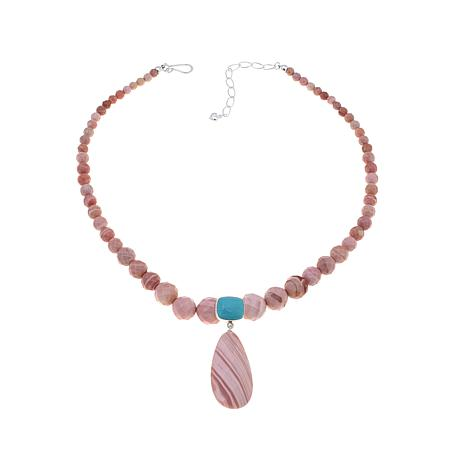 Jay King Pink Opal and Turquoise Pendant-Necklace