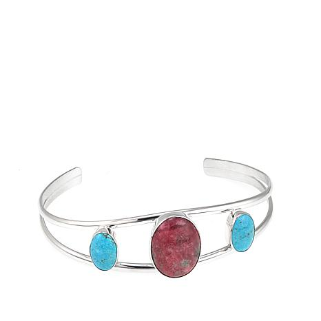 Jay King Pink Thulite and Turquoise Sterling Silver Cuff Bracelet