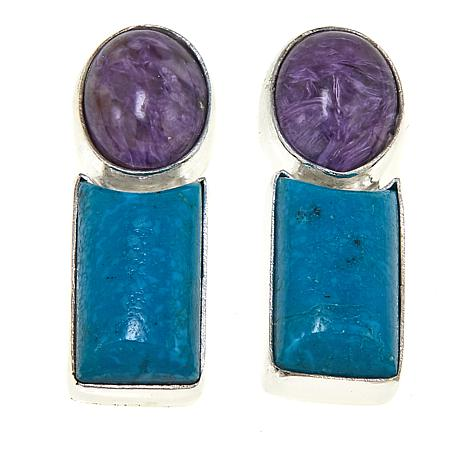 Jay King Purple Charoite and Turquoise Sterling Silver Earrings
