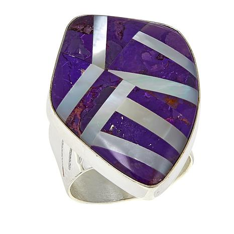 Jay King Purple Turquoise and Mother-of-Pearl Inlay Ring