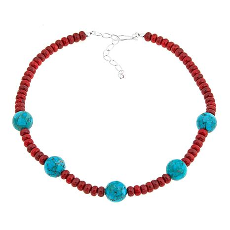 """Jay King Red Coral and Turquoise Bead 18-1/4"""" Necklace"""
