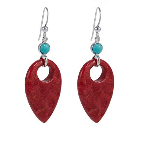 Jay King Red Coral and Turquoise Sterling Silver Earrings