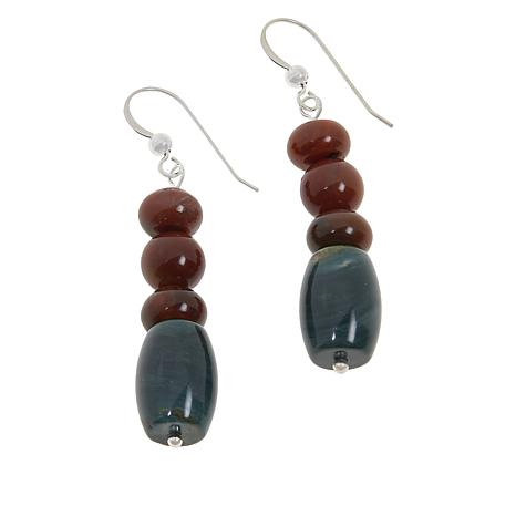 Jay King Red Petrified Wood and Green Swamp Bog Beaded Earrings