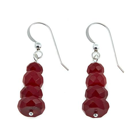 Jay King Red Sea Bamboo Coral Bead Drop Sterling Silver Earrings