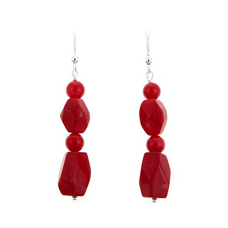 Jay King Red  Sea Bamboo Coral Drop Earrings