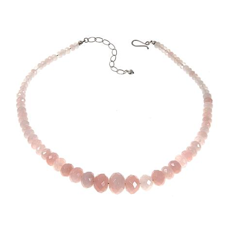 "Jay King Rose Quartz Bead 18"" Sterling Silver Necklace"