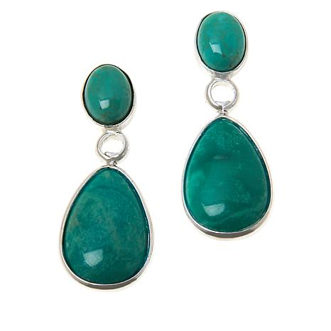 Jay King Royal Blue and Green Turquoise Reversible Drop Earrings