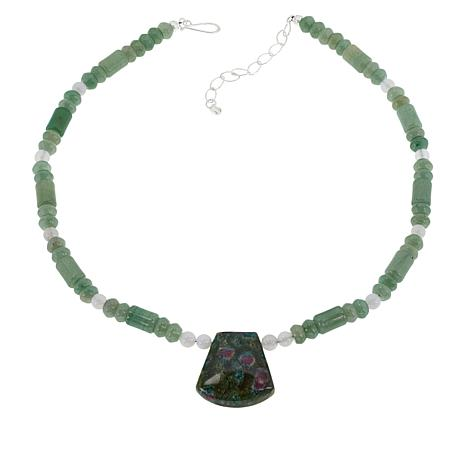 Jay King  Ruby-in-Zoisite and Multi-Gem Drop Necklace