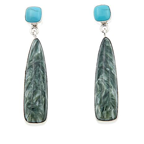 Jay King Seraphinite and Andean Blue Turquoise Drop Earrings