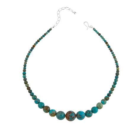 """Jay King Seven Peaks Turquoise Bead 18"""" Sterling Silver Necklace"""