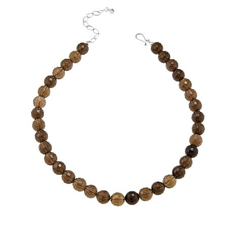 """Jay King Smoky Quartz Bead 18"""" Sterling Silver Necklace"""