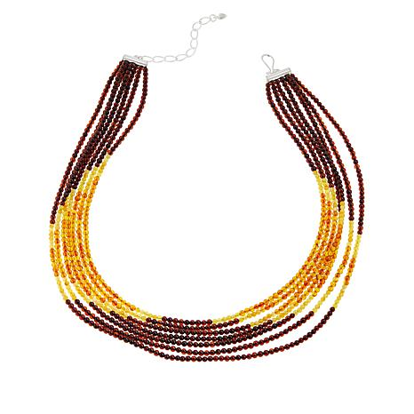Jay King Sterling Silver 7-Strand Amber & Butterscotch Amber Necklace