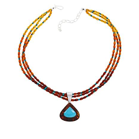 Jay King Sterling Silver Amber and Turquoise Pendant with Necklace