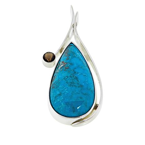 Jay King Sterling Silver Andean Turquoise  and Smoky Quartz Pendant