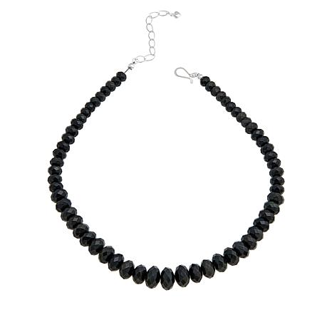 Jay King Sterling Silver Black Obsidian Beaded Necklace