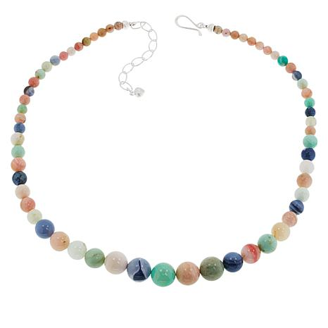 Jay King Sterling Silver Blue, Green and Pink Opal Bead Necklace