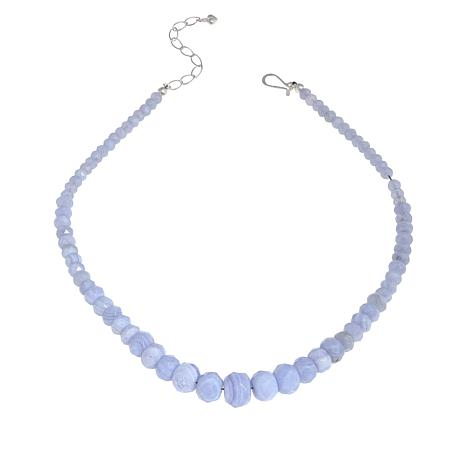 Jay King Sterling Silver Blue Lace Agate Bead Necklace