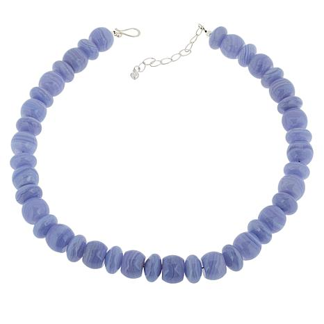 Jay King Sterling Silver Bold Blue Lace Agate Bead Necklace