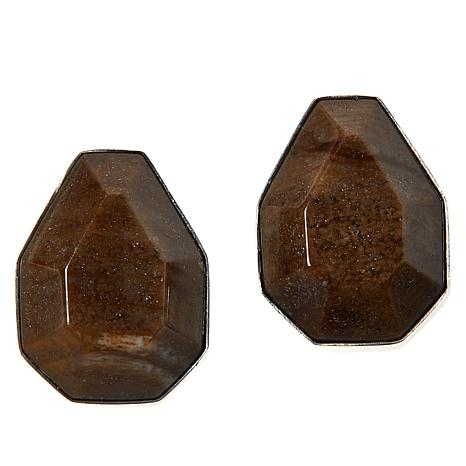 Jay King Sterling Silver Brown and Gray Petrified Wood Earrings