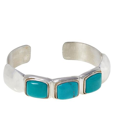 Jay King Sterling Silver Campitos Turquoise 3-Stone Cuff Bracelet