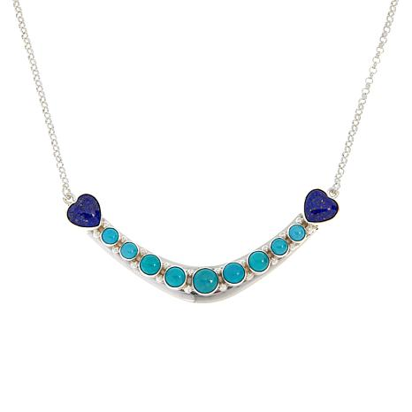 Jay King Sterling Silver Campitos Turquoise and Lapis Chain Necklace