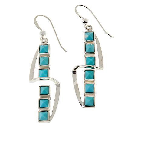 Jay King Sterling Silver Campitos Turquoise Square Stone Drop Earrings
