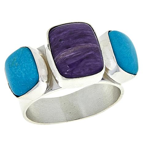 Jay King Sterling Silver Charoite and Turquoise Ring