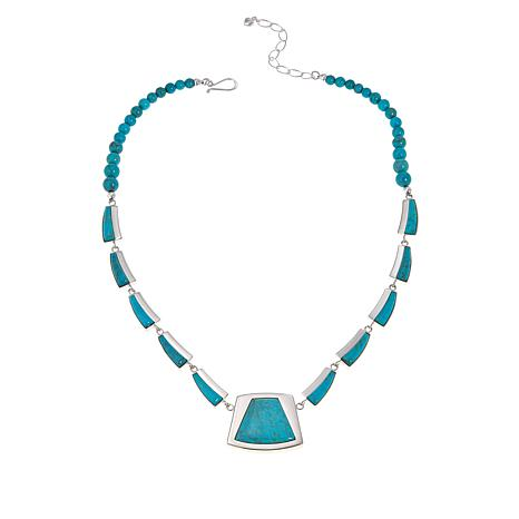 Jay King Sterling Silver Chilean Angel Peak Turquoise Drop Necklace