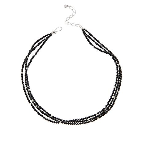 Jay King Sterling Silver Colored Gemstone 3-Strand Bead Necklace