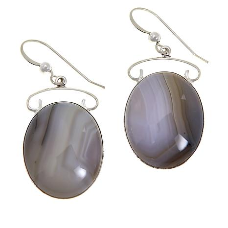 Jay King Sterling Silver Dendriband Agate Drop Earrings