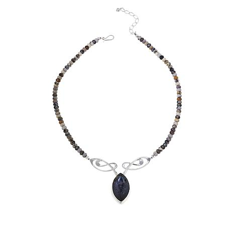 Jay King Sterling Silver Dendritic Sage Beaded Drop Necklace