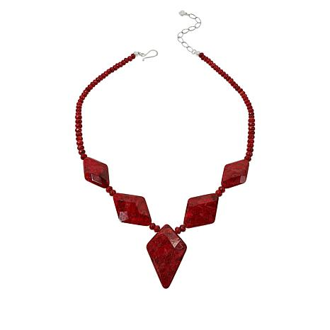 Jay King Sterling Silver Diamond-Shape Red Coral Station Necklace